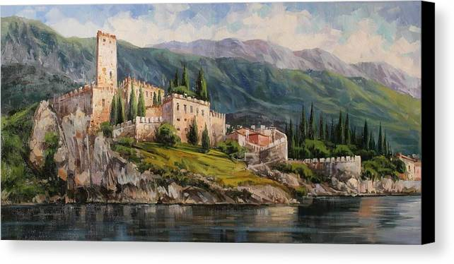Gardasee Canvas Print featuring the painting Malcesine Castle, Lago Di Garda by Lucio Campana