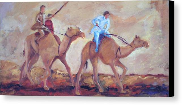 Figurative Canvas Print featuring the painting A Day At The Camel Races by Ginger Concepcion