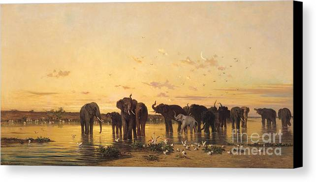 African Elephants (oil On Canvas) By Charles Emile De Tournemine (1812-72) Canvas Print featuring the painting African Elephants by Charles Emile de Tournemine
