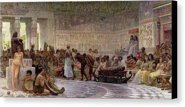 Egyptian Canvas Print featuring the painting An Egyptian Feast by Edwin Longsden Long