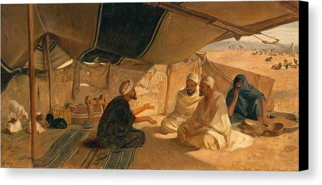 Arabs Canvas Print featuring the painting Arabs In The Desert by Frederick Goodall