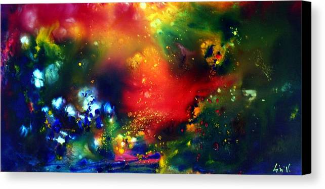 Abstract Canvas Print featuring the painting Aurora Borealis by Luiza Vizoli