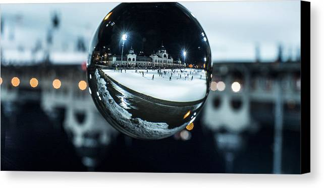Budapest Canvas Print featuring the photograph Budapest Globe - City Park Ice Rink by Gabor Tokodi