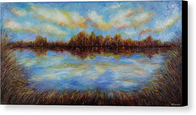 Landscape Canvas Print featuring the painting Clouds. by Evgenia Davidov