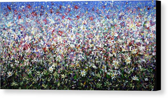 Daisies Canvas Print featuring the painting Daisies by Mario Zampedroni