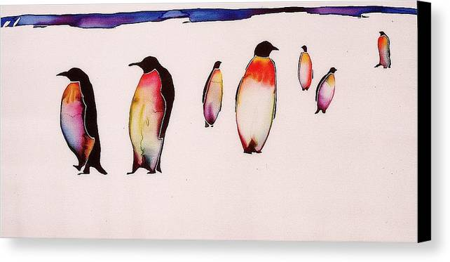 Penguins Canvas Print featuring the tapestry - textile Emperors On Ice by Carolyn Doe
