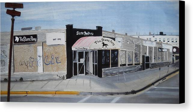 Acrylic Painting Of The Stone Pony Canvas Print featuring the painting End Of An Era by Patricia Arroyo