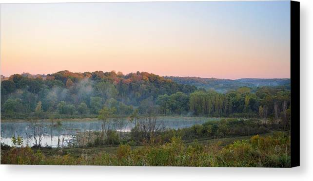 Valley Canvas Print featuring the photograph Foggy Valley Panorama by Bonfire Photography