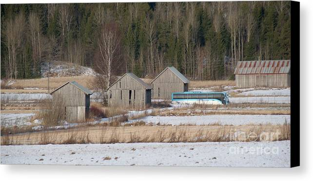 Barn Canvas Print featuring the photograph Four Barns by Esko Lindell
