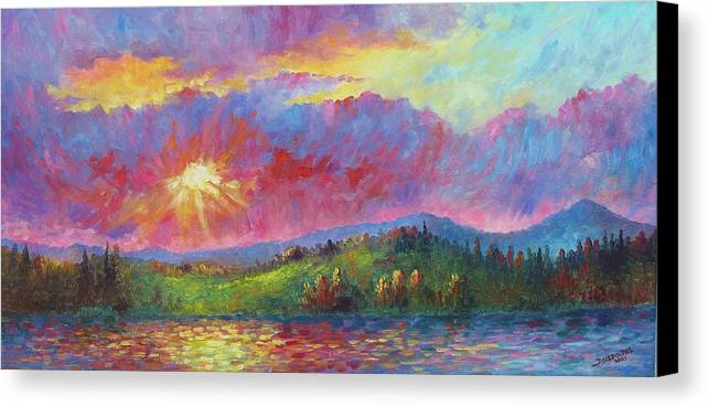 Landscape Canvas Print featuring the painting Front Range Sunset by David G Paul