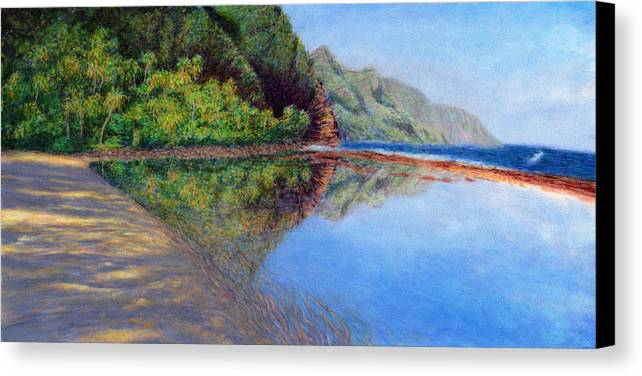 Rainbow Colors Pastel Canvas Print featuring the painting Ke'e Morning by Kenneth Grzesik
