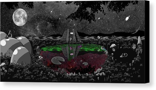 Landscpe Canvas Print featuring the digital art Lake Of Dreams by Rox Flame