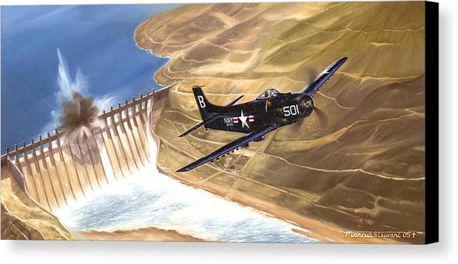 Military Canvas Print featuring the painting Last Of The Dambusters by Marc Stewart