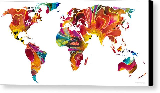 Map Canvas Print featuring the painting Map Of The World 2 -colorful Abstract Art by Sharon Cummings