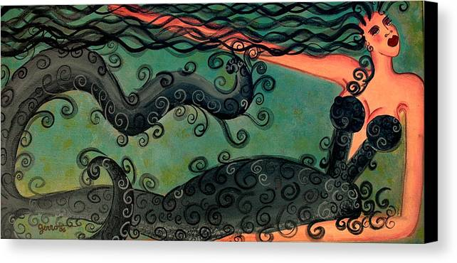 Mermaid Artwork Canvas Print featuring the painting Mermaid Under The Sea by Helen Gerro