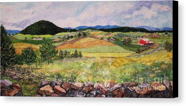 Landscape Canvas Print featuring the painting Mole Hill In Summer by Judith Espinoza