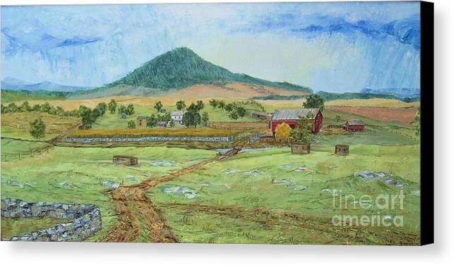 Landscape With Hill In Center Background Canvas Print featuring the painting Mole Hill Panorama by Judith Espinoza