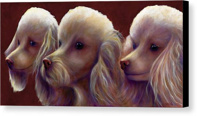 Dogs Canvas Print featuring the painting Molly Charlie And Abby by Shannon Grissom