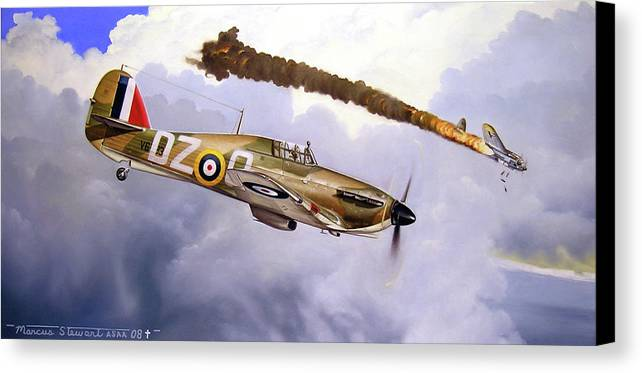 Aviation Art Canvas Print featuring the painting One Of The Few by Marc Stewart
