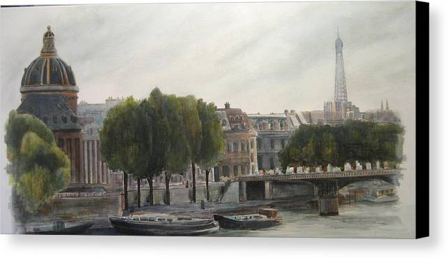 Paris Canvas Print featuring the painting Paris Across The Seine by Victoria Heryet