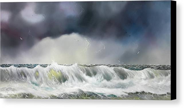 Seascape Canvas Print featuring the painting Rolling Sea by Don Griffiths