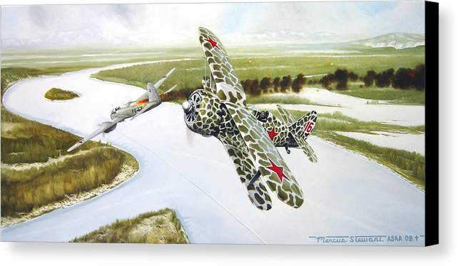 Aviation Canvas Print featuring the painting Russian Roulette by Marc Stewart