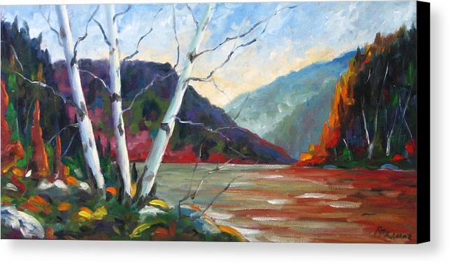 Landscape; Landscapes/scenic; Birches;sun;lake;pranke Canvas Print featuring the painting Sunset On The Lake by Richard T Pranke