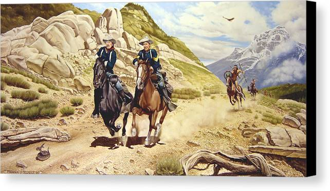 Western Canvas Print featuring the painting The Chase by Marc Stewart