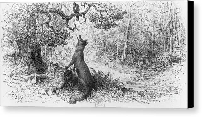 The Crow And The Fox Canvas Print featuring the drawing The Crow And The Fox by Gustave Dore