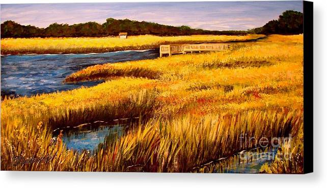 Beaches Canvas Print featuring the painting The Marsh At Cherry Grove Myrtle Beach South Carolina by Patricia L Davidson
