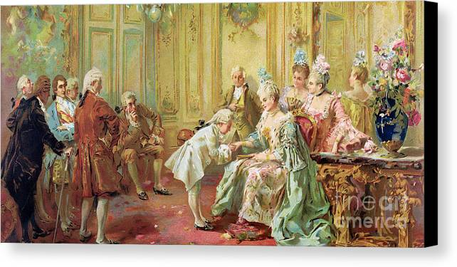 The Presentation Of The Young Mozart To Mme De Pompadour At Versailles In 1763 (colour Litho)wolfgang Amadeus Mozart (1756-91); Composer; Child Prodigy; Mozart Canvas Print featuring the painting The Presentation Of The Young Mozart To Mme De Pompadour At Versailles by Vicente de Parades