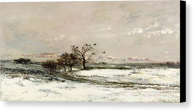 The Canvas Print featuring the painting The Snow by Charles Francois Daubigny