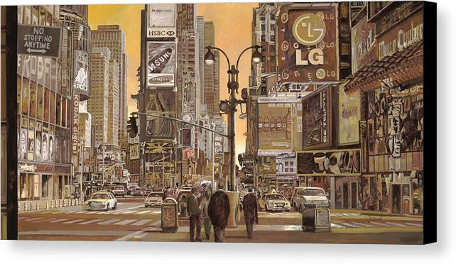 New York Canvas Print featuring the painting Times Square by Guido Borelli