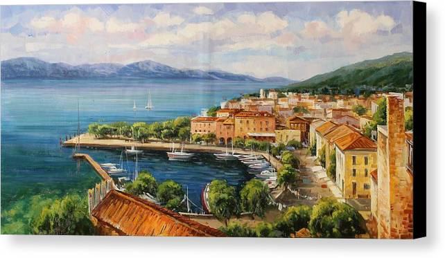 Gardasee Canvas Print featuring the painting Torri Del Benaco, Logo Garda by Lucio Campana