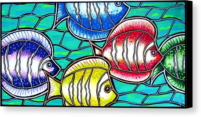 Fish Canvas Print featuring the painting Tropical Fish Swim by Jim Harris