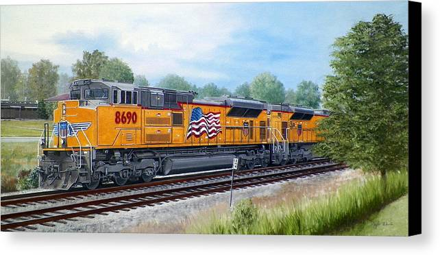 Art Canvas Print featuring the painting Union Pacific 8690 by RB McGrath