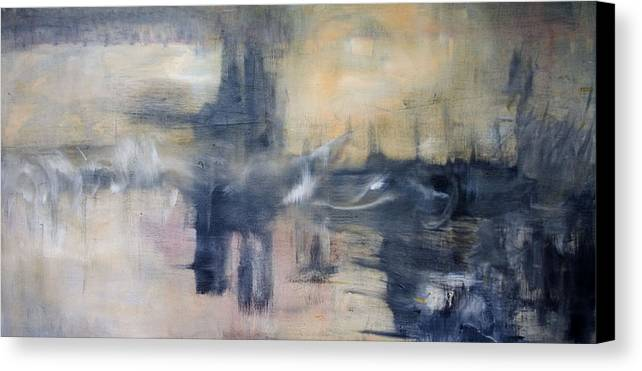 Cityscape Canvas Print featuring the painting Untitled by Shawnequa Linder