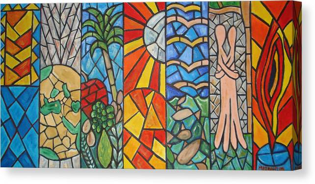 Bible Canvas Print Featuring The Painting 7 Days Of Creation By Jacob Mezrahi