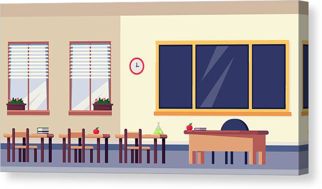 Empty Classroom Interior Vector Flat Illustration School Furniture