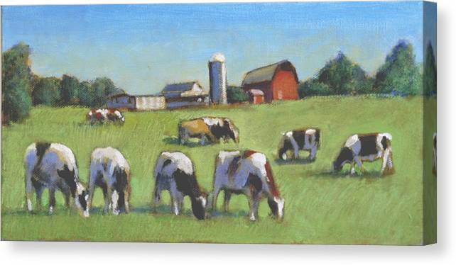 Landscape Paintings Farms Canvas Print featuring the painting Farming In The Dell by David Zimmerman