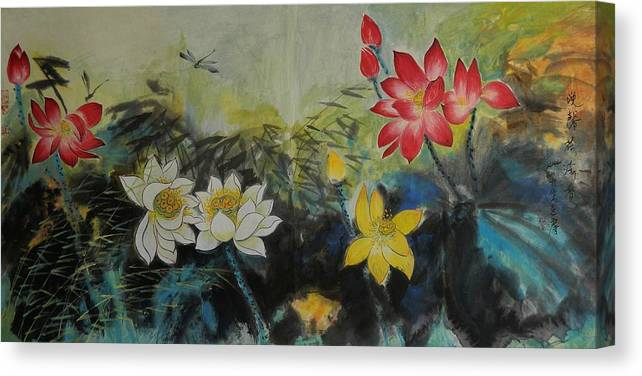 Chinese Brush Canvas Print featuring the painting Floral White 2 by Min Wang