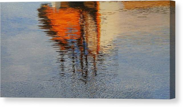 Water Canvas Print featuring the painting Harbor Reflecting by Anna Lowther