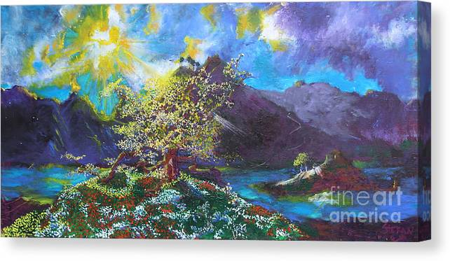 Landscape Canvas Print featuring the painting Out Of The Blue by Stefan Duncan