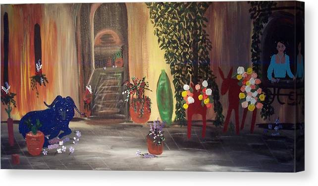 Hacienda Canvas Print featuring the painting Blue Goat by Susan Voidets