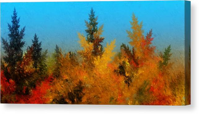Abstract Digital Painting Canvas Print featuring the digital art Autumnal Forest by David Lane