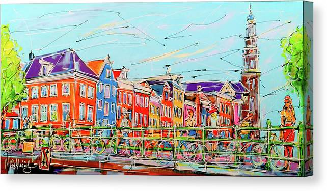 Amsterdam Canvas Print featuring the painting Canal Of Amsterdam, Bridge And Westerkerk by Mathias