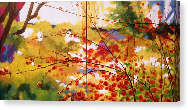Landscape Canvas Print featuring the painting Chinese Garden Grace by Melody Cleary