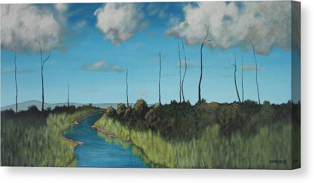 Landscape Canvas Print featuring the painting Deadwood by Candace Shockley