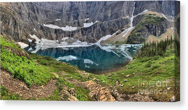 Iceberg Lake Panorama Canvas Print featuring the photograph Glacier Paradise by Adam Jewell
