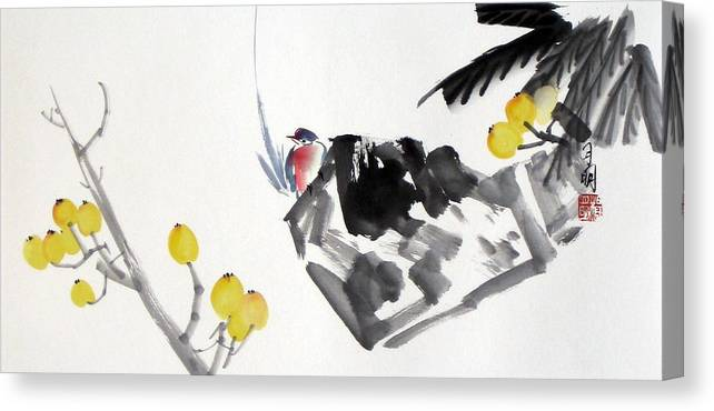 Chinese Painting Canvas Print featuring the painting Golden Attraction by Ming Yeung